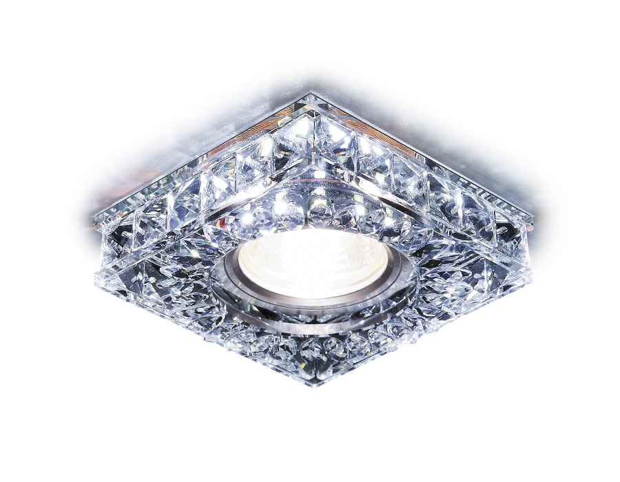 Встраиваемый точечный светильник MR16 со светодиодной подсветкойS251 CH хром/прозрачный хрусталь/MR1