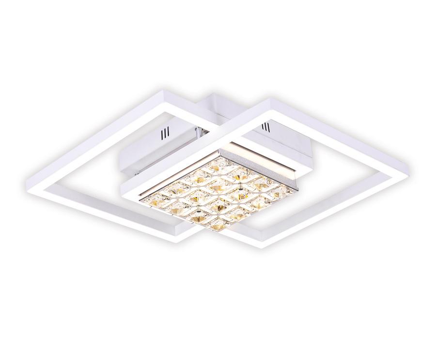 Управляемый светодиодный светильник с хрусталемFA111 WH белый 64W 600*450*110 (ПДУ РАДИО 2.4)