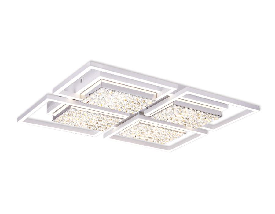Управляемый светодиодный светильник с хрусталемFA119/4 WH белый 228W 910*710*110 (ПДУ РАДИО 2.4)