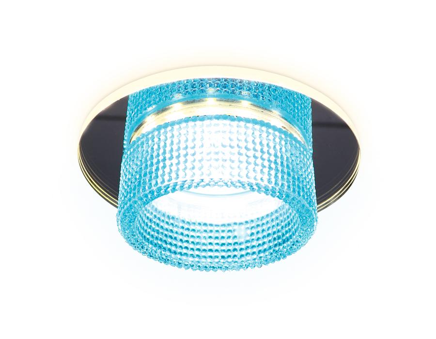 Встраиваемый зеркальный светильник MR16 с подсветкойTN351 CH/BL хром/голубой GU5.3+3W (LED COLD) D95