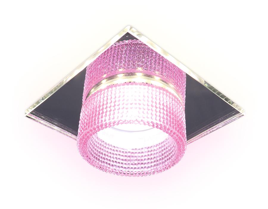 Встраиваемый зеркальный светильник MR16 с подсветкойTN356 CH/PI хром/розовый GU5.3+3W (LED COLD) 95*