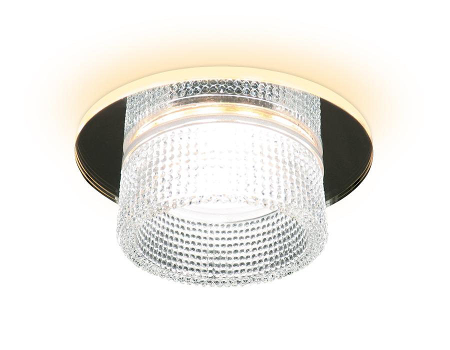 Встраиваемый зеркальный светильник MR16 с подсветкойTN350 CH/CL хром/прозрачный GU5.3+3W (LED WHITE)