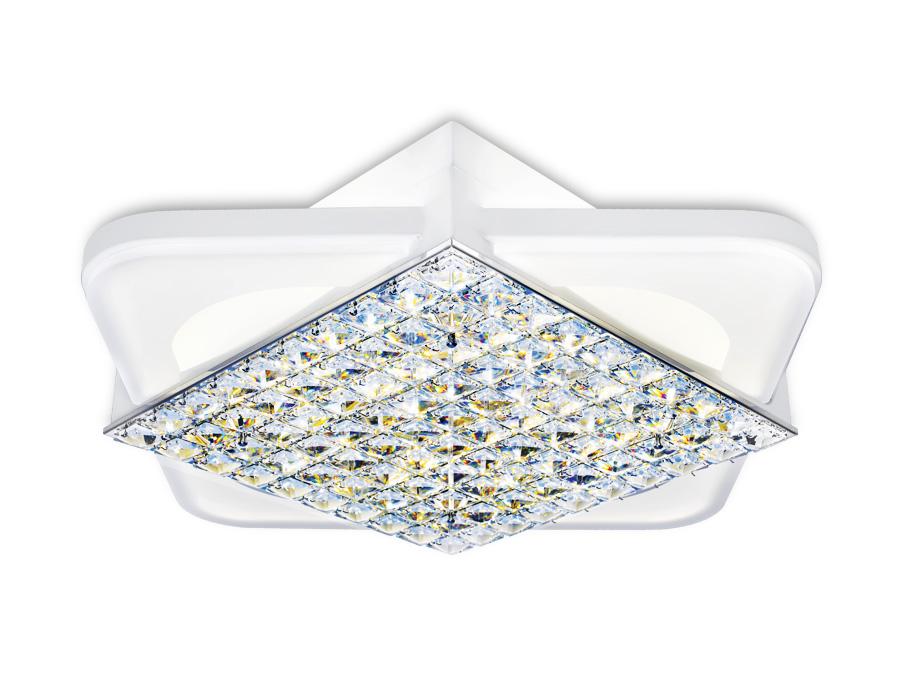 Управляемый светодиодный светильник с хрусталемFA124 WH белый 104W 510*510*110 (ПДУ РАДИО 2.4)
