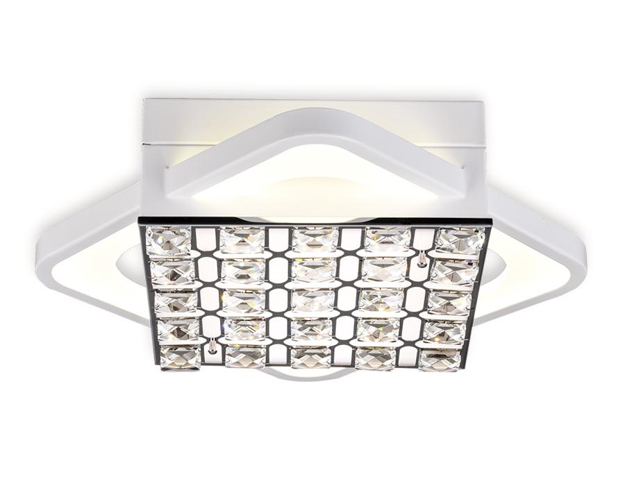 Управляемый светодиодный светильник с хрусталемFA122 WH белый 54W 300*300*100 (ПДУ РАДИО 2.4)