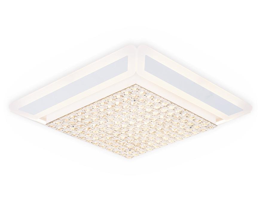 Управляемый светодиодный светильник с хрусталем FA141 WH белый 210W 630*630*110 (ПДУ РАДИО 2.4)