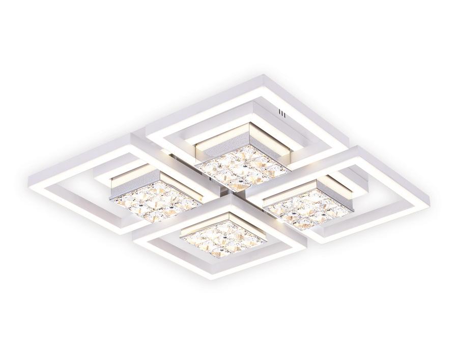 Управляемый светодиодный светильник с хрусталемFA118/4 WH белый 124W 480*480*110 (ПДУ РАДИО 2.4)