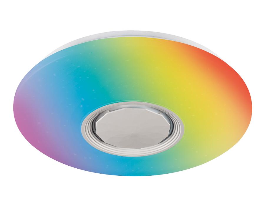 Музыкальный светодиодный светильник c подсветкой RGBFF201 WH/CH белый 72W D495*85 (ПДУ ИК)