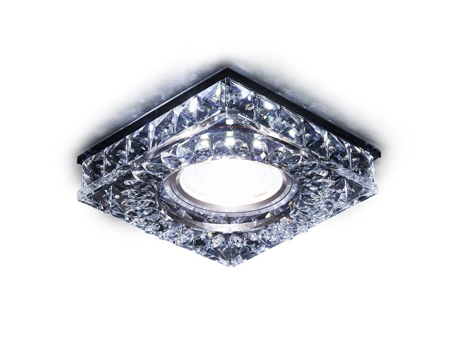Встраиваемый точечный светильник MR16 со светодиодной подсветкойS251 BK хром/тонированный хрусталь/M