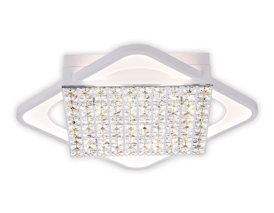Управляемый светодиодный светильник с хрусталем FA125 WH белый 160W 640*640*110 (ПДУ РАДИО 2.4)