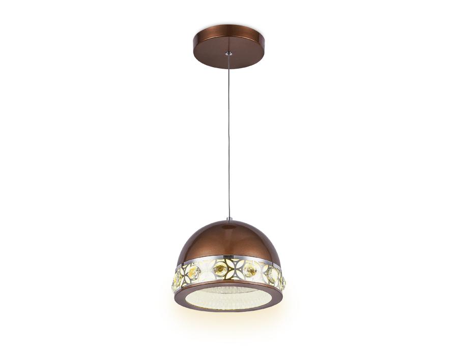 Подвесной светодиодный светильникFA9495 CF/CH кофе/хром 4200K 18W D200*670 (без ПДУ)