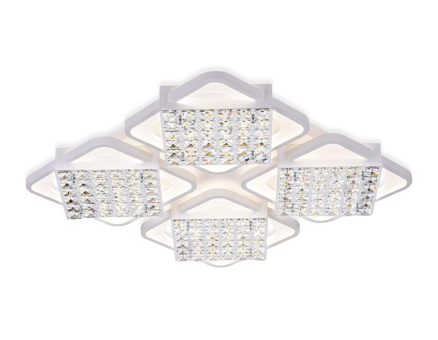 Управляемый светодиодный светильник с хрусталем FA128/4 WH белый 222W 680*680*110 (ПДУ РАДИО 2.4)