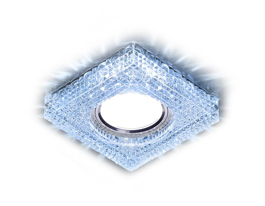 Встраиваемый точечный светильник MR16 со светодиодной подсветкойS272 CL/CLD хром/прозрачный MR16+3W(