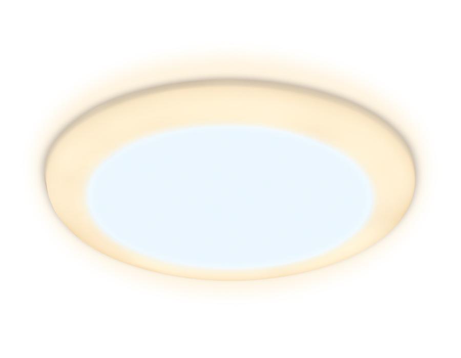 Встраиваемый cветодиодный светильник с регулируемым крепежом и подсветкойDCR301 5W+3W 6400K/3000K 85