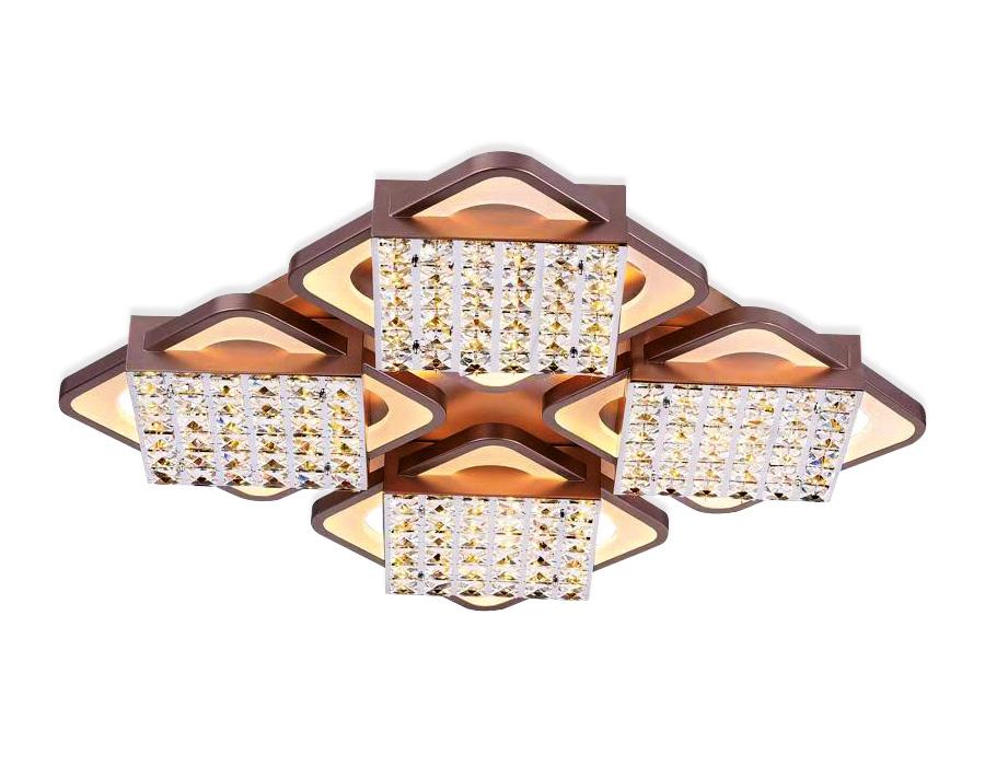 Управляемый светодиодный светильник с хрусталемFA129/4 CF кофе 222W 680*680*110 (ПДУ РАДИО 2.4)