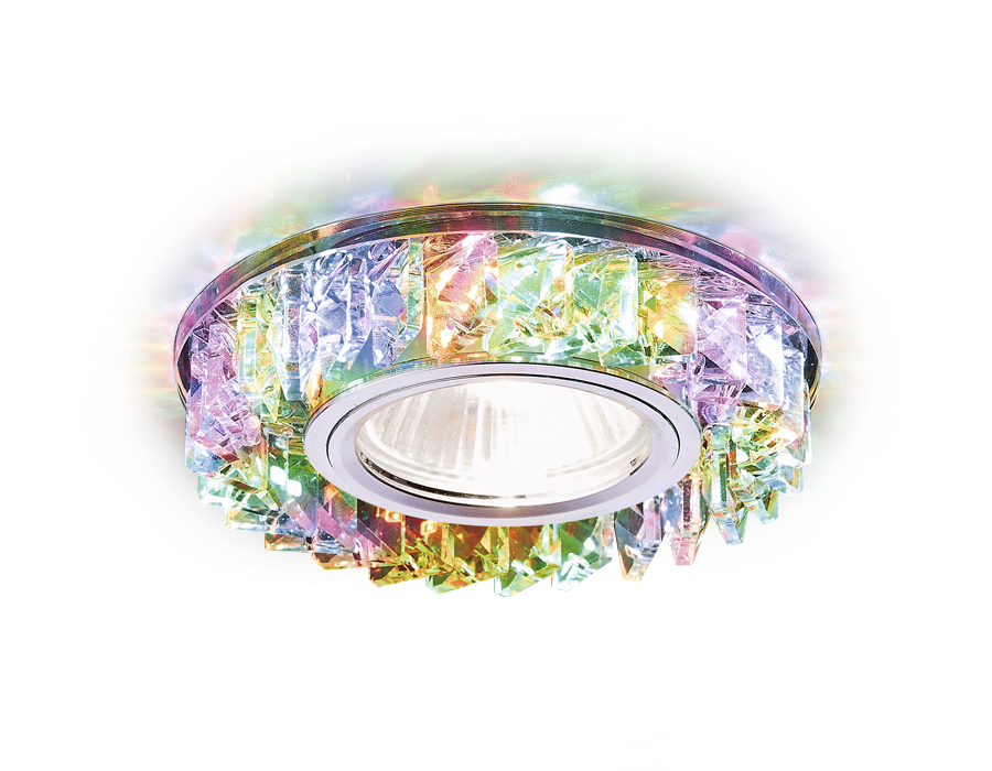 Встраиваемый точечный светильник MR16 со светодиодной подсветкойS255 CH/M хром/прозрачный хрусталь/M