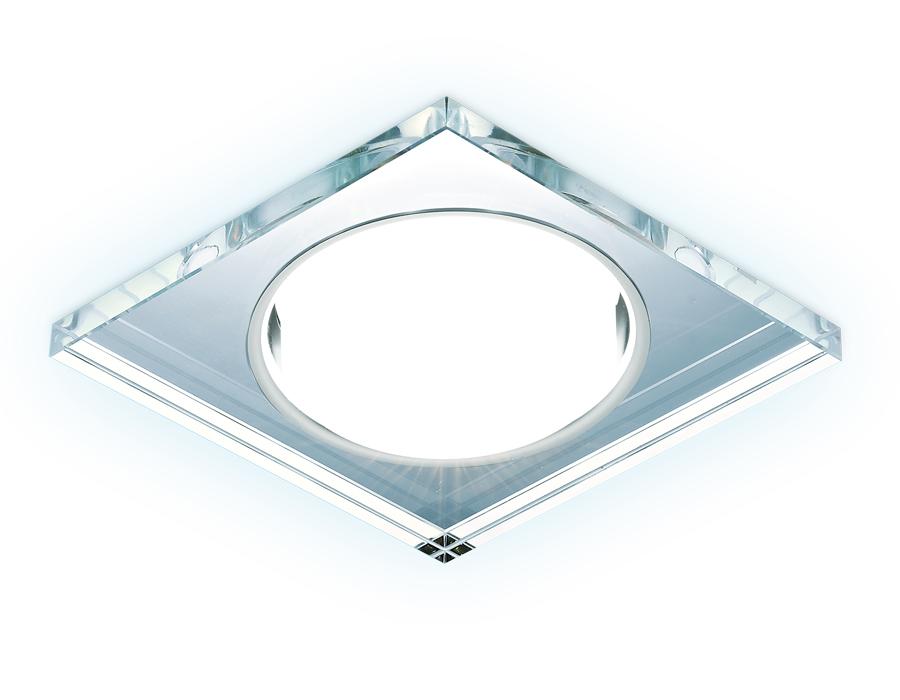 Встраиваемый точечный светильник GX53 с LED подсветкойG215 CL/CH/CLD хром/прозрачный GX53+3W(LED COL
